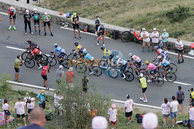 The leading GC contenders climb the Col de Peyresourde in front during Stage 8 of Tour de France 2020, running 141km from Cazeres-sur-Garonne to Loudenvielle, France. 5th September 2020. <br /> Picture: Colin Flockton | Cyclefile<br /> All photos usage must carry mandatory copyright credit (© Cyclefile | Colin Flockton)