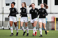 Estee Cattoor (11) of OH Leuven, Marie Detruyer (17) of OH Leuven, Lina Meeuwis (19) of OH Leuven, Valesca Ampoorter (23) of OH Leuven pictured during a female soccer game between Oud Heverlee Leuven and RSC Anderlecht on the fifth matchday of the 2021 - 2022 season of Belgian Womens Super League , sunday 3 October 2021  in Leuven , Belgium . PHOTO SPORTPIX.BE   SEVIL OKTEM