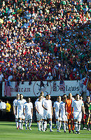Pasadena, CA - June 25, 2011: United States walks onto the field vs Mexico in the 2011 CONCACAF Gold Cup Championships, at the Rose Bowl. Mexico won 4-2.