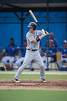 GCL Tigers West Jimmy Kerr (18) bats during a Gulf Coast League game against the GCL Blue Jays on August 3, 2019 at the Englebert Complex in Dunedin, Florida.  GCL Blue Jays defeated the GCL Tigers West 4-3.  (Mike Janes/Four Seam Images)