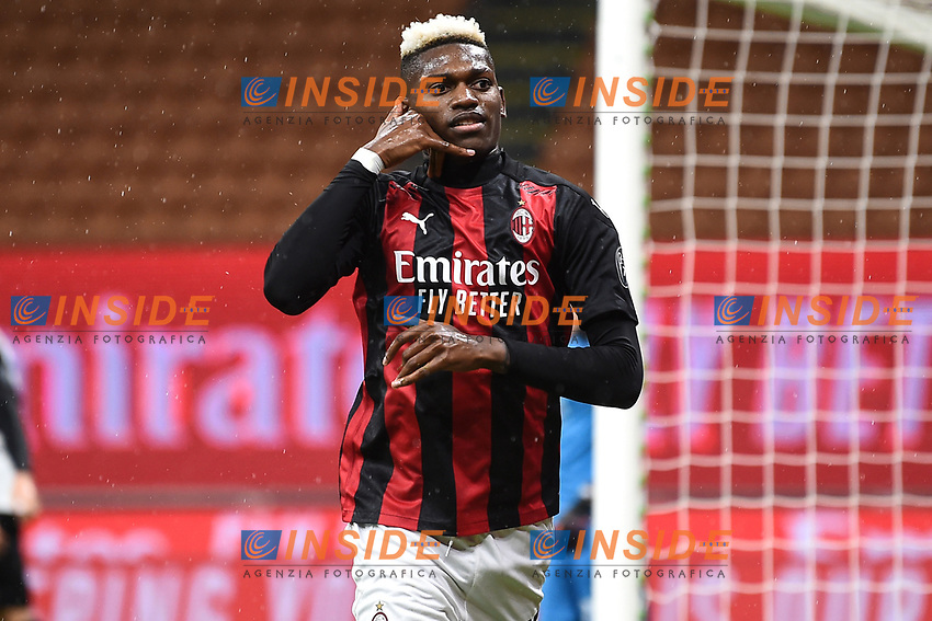 Rafael Leao of AC Milan celebrates after a goal <br /> Serie A football match between AC Milan and Spezia Calcio at San Siro Stadium in Milano  (Italy), October 4th, 2020. Photo Image Sport / Insidefoto