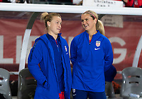 CARSON, CA - FEBRUARY 7: Emily Sonnett #2 and Lindsey Horan #9 of the United States talks during a game between Mexico and USWNT at Dignity Health Sports Park on February 7, 2020 in Carson, California.