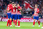 Atletico de MadridDiego Godin, Koke Resurreccion, Diego Costa, Angel Martin Correa and Antoine Griezmann celebrating a goal during La Liga match between Atletico de Madrid and SD Huesca at Wanda Metropolitano Stadium in Madrid, Spain. September 25, 2018. (ALTERPHOTOS/Borja B.Hojas)