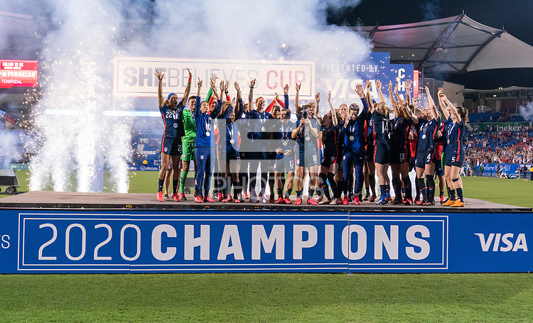 FRISCO, TX - MARCH 11: The USWNT raises the SheBelieves Trophy during a game between Japan and USWNT at Toyota Stadium on March 11, 2020 in Frisco, Texas.