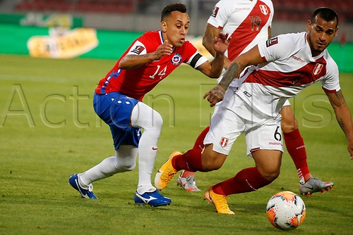 13th November 2020; National Stadium of Santiago, Santiago, Chile; World Cup 2020 Football qualification, Chile versus Peru;  Fabian Orellana of Chile and Miguel Trauco of Peru