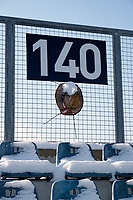 Chester, PA - Sunday December 10, 2017: A hat is attached to the fencing at the top of section 140. Stanford University defeated Indiana University 1-0 in double overtime during the NCAA 2017 Men's College Cup championship match at Talen Energy Stadium.