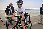 Sky Procycling rider World Champion Mark Cavendish (GBR) wearing the points jersey signs on before the start of Stage 4 of the 2012 Tour of Qatar from Al Thakhira to Madinat Al Shamal, Qatar. 8th February 2012.<br /> (Photo Eoin Clarke/Newsfile)