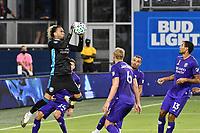 KANSAS CITY, KS - SEPTEMBER 23: Pedro Gallese #1 of Orlando City makes a catch from a corner during a game between Orlando City SC and Sporting Kansas City at Children's Mercy Park on September 23, 2020 in Kansas City, Kansas.