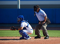 IMG Academy Ascenders catcher Will King (5) and the home plate umpire during a game against the Victory Charter School Knights on February 28, 2020 at IMG Academy in Bradenton, Florida.  (Mike Janes/Four Seam Images)