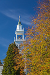 Fall foliage at the West Barnsatble Church in Barnstable, Cape Cod, Massachusetts, USA