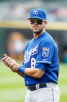Kansas City Royals third baseman Mike Moustakas #8 during a game against the Chicago White Sox at U.S. Cellular Field on August 14, 2011 in Chicago, Illinois.  Chicago defeated Kansas City 6-2.  (Mike Janes/Four Seam Images)