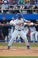 Austin Langworthy (44) of the Florida Gators at bat against the Wake Forest Demon Deacons in Game Two of the Gainesville Super Regional of the 2017 College World Series at Alfred McKethan Stadium at Perry Field on June 11, 2017 in Gainesville, Florida.  (Brian Westerholt/Four Seam Images)