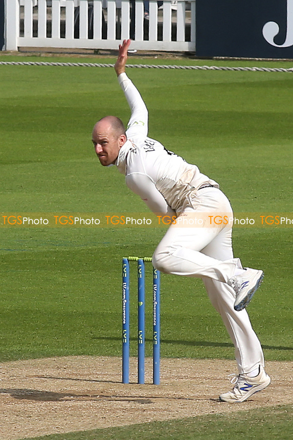 Jack Leach of Somerset in bowling action during Surrey CCC vs Somerset CCC, LV Insurance County Championship Group 2 Cricket at the Kia Oval on 13th July 2021
