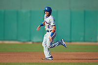 Jhonny Bethencourt (6) of the South Bend Cubs hustles towards second base during the game against the Lansing Lugnuts at Cooley Law School Stadium on June 15, 2018 in Lansing, Michigan. The Lugnuts defeated the Cubs 6-4.  (Brian Westerholt/Four Seam Images)