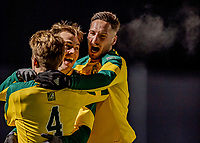 13 November 2019: University of Vermont Catamount Defender Adrian Gahabka (right), a Senior from Passau, Germany, celebrates the game-tying goal in the second half against the University of Hartford Hawks at Virtue Field in Burlington, Vermont. The Catamounts fell to the visiting Hawks 3-2 in sudden death overtime of the Division 1 Men's Soccer America East matchup. Mandatory Credit: Ed Wolfstein Photo *** RAW (NEF) Image File Available ***