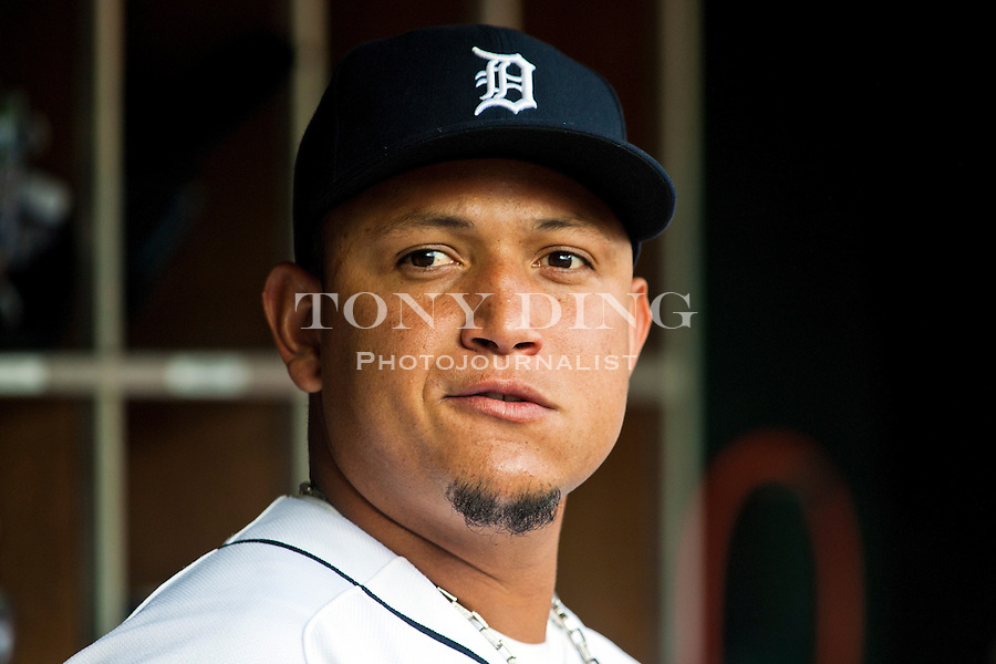 3 August 2011: Detroit Tigers first baseman Miguel Cabrera in the dugout during the Texas Rangers at Detroit Tigers Major League Baseball game at Comerica Park, in Detroit, Michigan. (Tony Ding/Icon SMI)