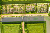 France, Cher, Berry, Route Jacques Coeur, Ainay le Vieil, Chateau d'Ainay le Vieil, castlel gardens, the Chartreuses (aerial view) // France, Cher (18), Berry, Route Jacques Coeur, Ainay-le-Vieil, jardins du château, les chartreuses (vue aérienne)