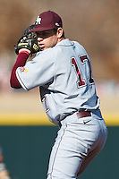 Garret Graziano (17) pitches during the NCAA matchup between the University of Arkansas-Little Rock Trojans and the University of Oklahoma Sooners at L. Dale Mitchell Park in Norman, Oklahoma; March 11th, 2011.  Oklahoma won 11-3.  Photo by William Purnell/Four Seam Images