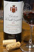 Cuvee Reservee Chateau la Voulte Gasparets. In Gasparets village near Boutenac. Les Corbieres. Languedoc. France. Europe. Bottle.