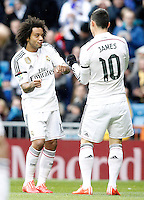 Real Madrid's Marcelo Vieira (l) and James Rodriguez celebrate goal during La Liga match.January 31,2015. (ALTERPHOTOS/Acero) /NortePhoto<br /> /NortePhoto.com