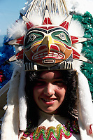 Portrait of Kwakwaka'wakw (Kwakiutl) Native American Indian Girl wearing Traditional Ceremonial Headdress and Regalia at Pow Wow, BC, British Columbia, Canada (No Model Release Available)