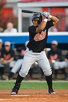 First baseman Elvin Polanco (3) of the Bluefield Orioles at bat at Burlington Athletic Park in Burlington, NC, Saturday, July 26, 2008. (Photo by Brian Westerholt / Four Seam Images)