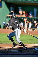 Jasrado Chisholm (7) of the Missoula Osprey at bat against the Ogden Raptors in Pioneer League action at Lindquist Field on July 13, 2016 in Ogden, Utah. Ogden defeated Missoula 8-2. (Stephen Smith/Four Seam Images)