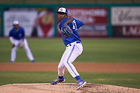 Dunedin Blue Jays pitcher Juan De Paula (47) during a game against the Bradenton Marauders on May 15, 2021 at BayCare Ballpark in Clearwater, Florida.  (Mike Janes/Four Seam Images)