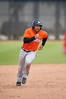 Miami Marlins Justin Twine (14) during a Minor League Spring Training game against the Washington Nationals on March 28, 2018 at FITTEAM Ballpark of the Palm Beaches in West Palm Beach, Florida.  (Mike Janes/Four Seam Images)