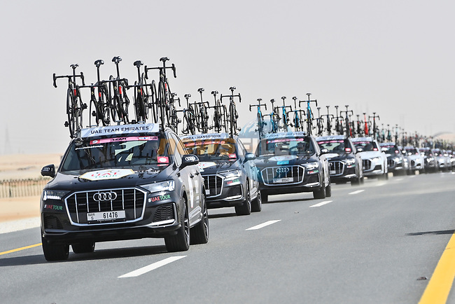 Team cars courtesy of Audi during Stage 1 of the 2021 UAE Tour the ADNOC Stage running 176km from Al Dhafra Castle to Al Mirfa, Abu Dhabi, UAE. 21st February 2021.  <br /> Picture: LaPresse/Fabio Ferrari | Cyclefile<br /> <br /> All photos usage must carry mandatory copyright credit (© Cyclefile | LaPresse/Fabio Ferrari)