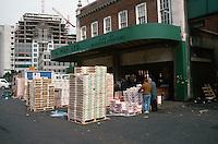 London:  Spitafields Market about 9 A.M.  when it all ends. Broadgate Development behind.  Photo '90.