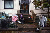 Park Slope, Brooklyn<br /> New York <br /> October 13, 2020<br /> <br /> Scary Halloween decorations are put out in Brooklyn.