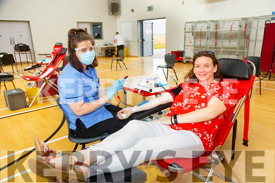 Irish Blood Transfusion Clinic: Liz Quinn, Listowel  with nurse Laura Feehan pictured giving blood at the IBT clinic i in Colaiste Ide agus Josef, Abbeyfeale on Thursday evening last.