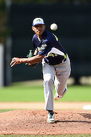 Vermont Lake Monsters pitcher Jose Torres (41) delivers a pitch during a game against the Jamestown Jammers on July 13, 2014 at Russell Diethrick Park in Jamestown, New York.  Jamestown defeated Vermont 6-2.  (Mike Janes/Four Seam Images)