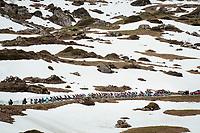 up the snowy Cormet de Roselend (2cat/1968m/5.7km@6.5%)<br /> <br /> 73rd Critérium du Dauphiné 2021 (2.UWT)<br /> Stage 7 from Saint-Martin-le-Vinoux to La Plagne (171km)<br /> <br /> ©kramon