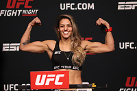 30th April 2021; Las Vegas, Nevada, USA;  Poliana Botelho poses on the scale during the UFC Fight Night: Reyes versus  Prochazka Weigh-in at UFC Apex on April 30, 2021, in Las Vegas, Nevada.