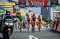 Green Jersey Marcel Kittel (GER/Katusha Alpecin) and teammates roll in late by being held by a crash in the final 3 kilometers.<br /> <br /> <br /> Stage 2: Mouilleron-Saint-Germain > La Roche-sur-Yon (183km)<br /> <br /> Le Grand Départ 2018<br /> 105th Tour de France 2018<br /> ©kramon