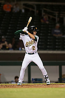 Mesa Solar Sox shortstop Eli White (21), of the Oakland Athletics organization, at bat during an Arizona Fall League game against the Scottsdale Scorpions at Sloan Park on October 10, 2018 in Mesa, Arizona. Scottsdale defeated Mesa 10-3. (Zachary Lucy/Four Seam Images)