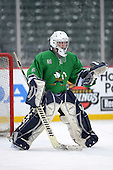 Notre Dame Fighting Irish of Batavia goalie Tyler Stroud (31) during warms before a varsity ice hockey game against the Brockport Blue Devils during the Section V Rivalry portion of the Frozen Frontier outdoor hockey event at Frontier Field on December 22, 2013 in Rochester, New York.  (Copyright Mike Janes Photography)
