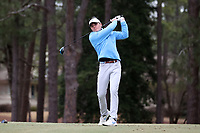 PINEHURST, NC - MARCH 02: Austin Greaser of the University of North Carolina tees off on the 18th hole at Pinehurst No. 2 on March 02, 2021 in Pinehurst, North Carolina.