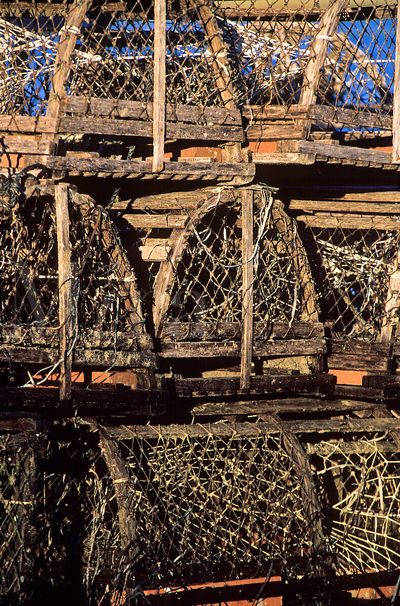 Old wooden lobster traps.