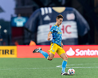 FOXBOROUGH, MA - AUGUST 8: Jack Elliott #3 of Philadelphia Union passes the ball during a game between Philadelphia Union and New England Revolution at Gillette Stadium on August 8, 2021 in Foxborough, Massachusetts.