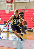 24 November 2015: College of Mount Saint Vincent Dolphins Guard LauraMae Cocchi, a Freshman from Northport, NY, in action against the Yeshiva University Maccabees at the Baruch College ARC Arena Gymnasium, in New York, NY. The Dolphins defeated the Maccabees 67-30 in the NCAA Division III Women's Basketball Skyline matchup. Mandatory Credit: Ed Wolfstein Photo *** RAW (NEF) Image File Available ***