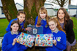 Castleisland Community College students l-r: Caoimhe Ahern, Ciara Shanahan, Eilish Enright, Emma Killington, and teacher Laura Leahy with their board game Timpell in Tí which they invented