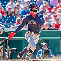 9 July 2017: Atlanta Braves outfielder Nick Markakis hits an RBI fielder's choice in the 6th inning against the Washington Nationals at Nationals Park in Washington, DC. The Nationals defeated the Braves to split their 4-game series. Mandatory Credit: Ed Wolfstein Photo *** RAW (NEF) Image File Available ***