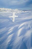 Frost covered roadsign cross on finger mountain, along the James Dalton Highway, Alaska