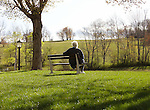 Person on Bench Enjoying Springtime in the Berkshires