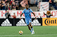 FOXBOROUGH, MA - SEPTEMBER 29: Sebastien Ibeagha #33 of New York City FC looks to pass during a game between New York City FC and New England Revolution at Gillette Stadium on September 29, 2019 in Foxborough, Massachusetts.