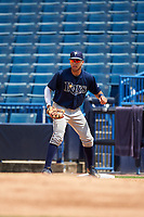 Francisco Del Valle (9) of Puerto Rico Baseball Academy in Santa Isabel, Puerto Rico playing for the Tampa Bay Rays scout team during the East Coast Pro Showcase on July 30, 2015 at George M. Steinbrenner Field in Tampa, Florida.  (Mike Janes/Four Seam Images)