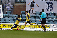 20th February 2021; Dens Park, Dundee, Scotland; Scottish Championship Football, Dundee FC versus Queen of the South; Ayo Obileye of Queen of the South celebrates after scoring for 1-0 from the penalty spot